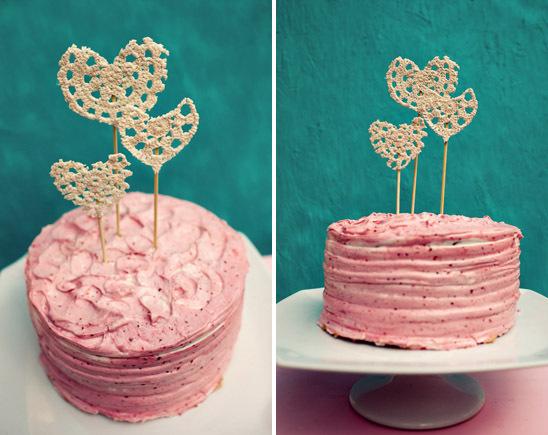 Adorno para el pastel de Boda corazón crochet