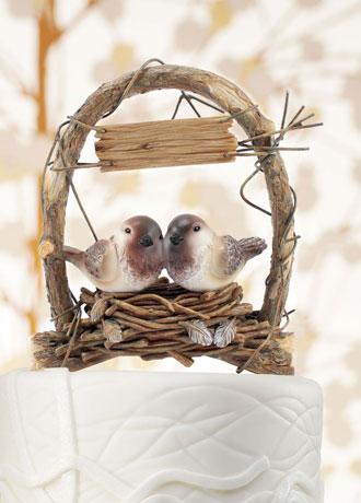 Adorno para el pastel de Boda nido de pajaritos