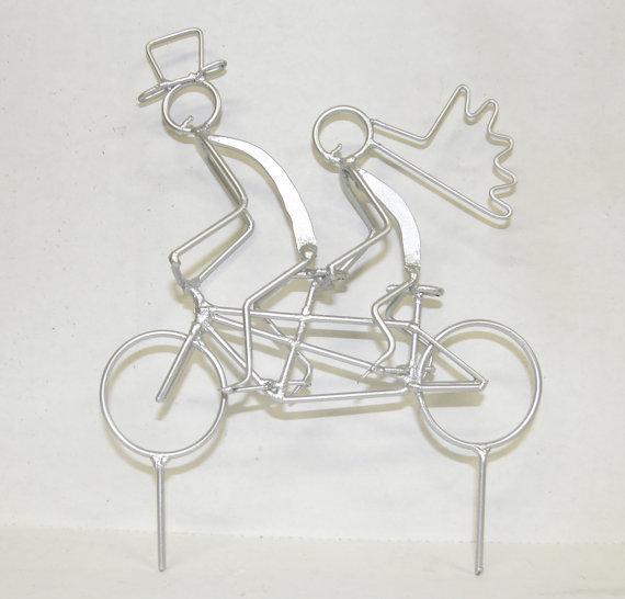 Adorno para el pastel de Boda novios bicicleta